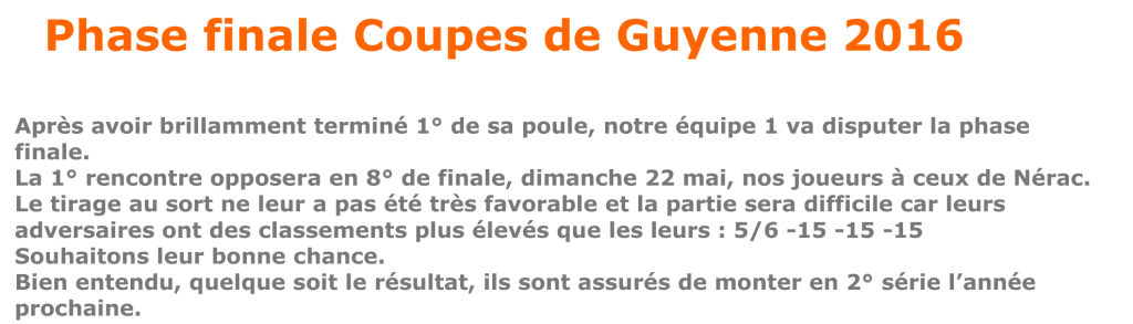 Article Phase Finales coupes de Guyenne 2016